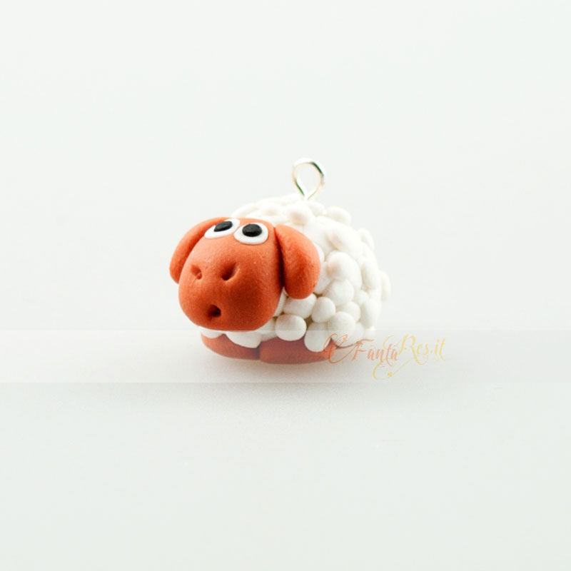 ciondolo pecorella - sheep charms in fimo