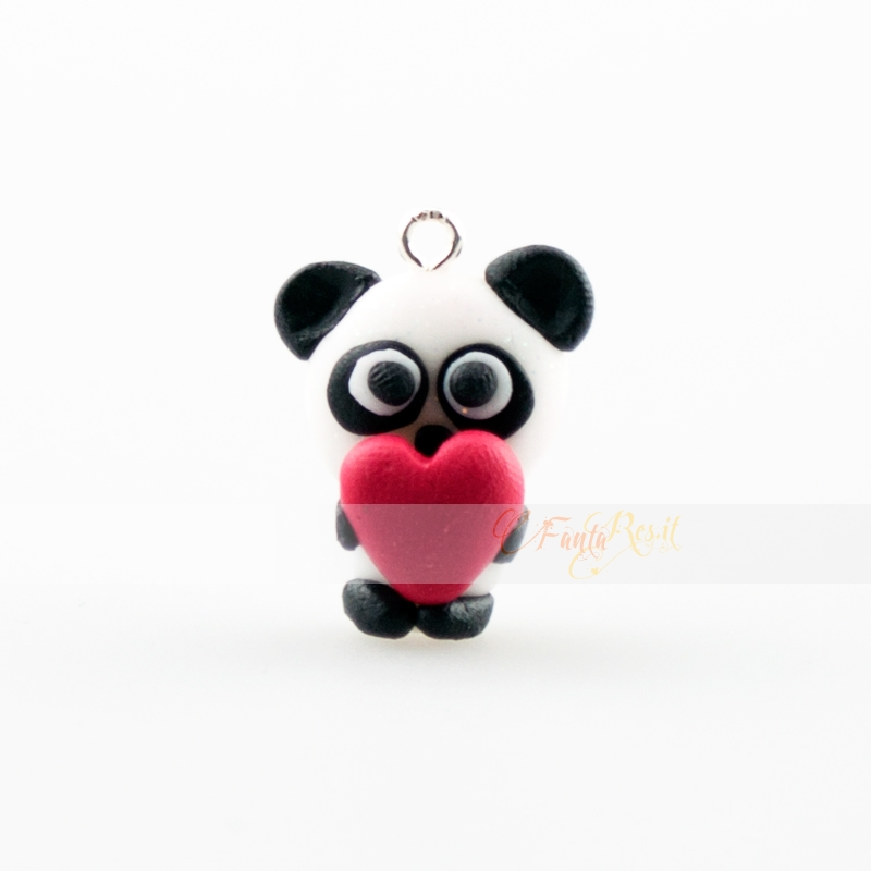 panda in love - cuore in fimo