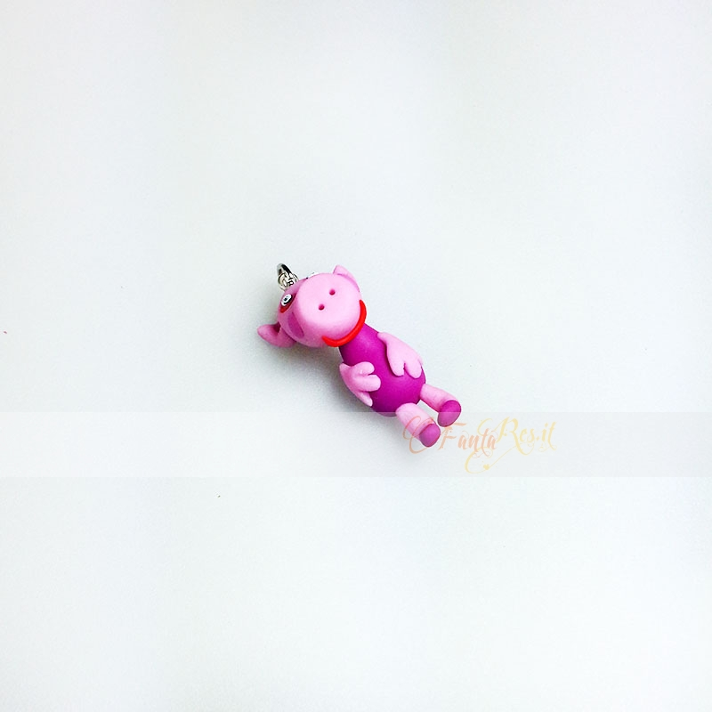 ciondolo peppa pig in fimo - charms per collane o bracciali