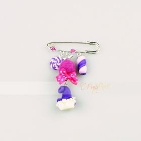spillone color argento - charms con folletto luminoso e dolcetti