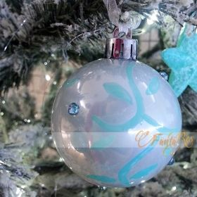 pallina decorata a mano e strass -addobbi albero natale -color tiffany